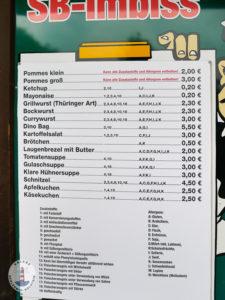 Essenpreise im Imbiss vom Tolk-Schau
